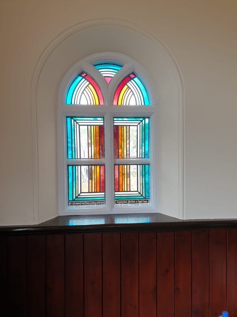 Paint finish around Calfaria Chapel leaded window Ystradgynlais by decorator Swansea