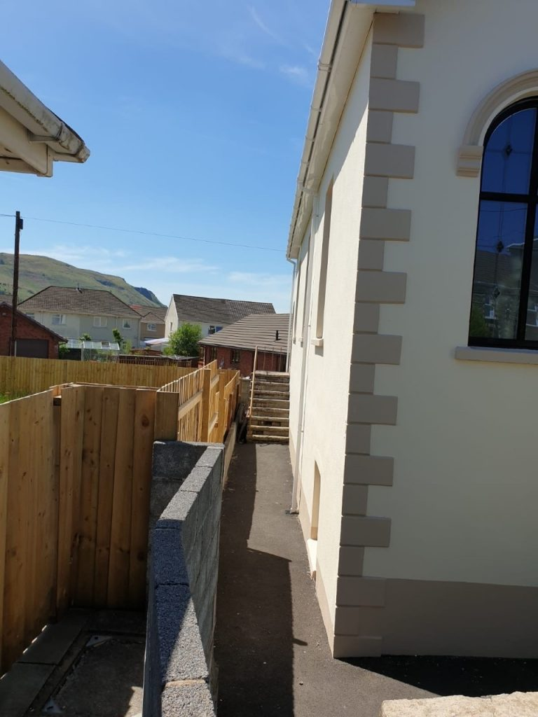 Left side exterior wall Calfaria Chapel Ystradgynlais paintwork completed by decortors Swansea