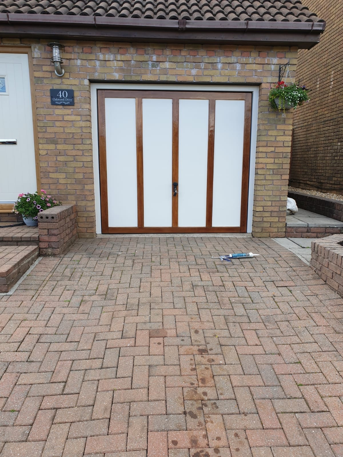 Wide view od completed Garage door by Painter and Decorator Swansea